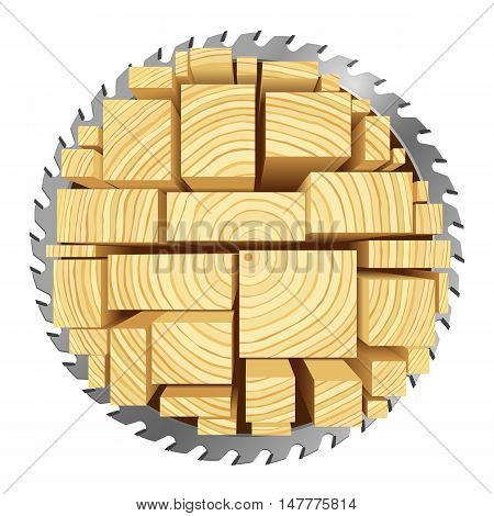 Lumber and wood slice illustration concept. Abstract creative saw. Sawmill color hd 3d web icon. Woodworking logo.