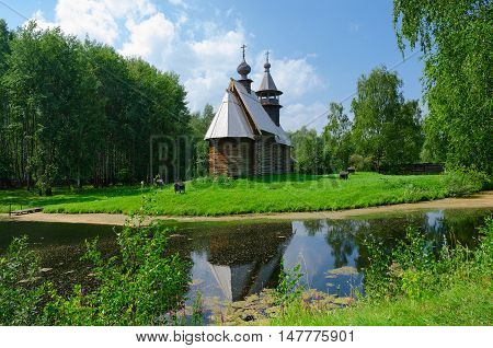 KOSTROMA RUSSIA - JULY 20 2016: Kostroma Architectural-Ethnographic and Landscape Museum-Reserve Kostromskaya Sloboda. Church of Savior from village Fominskoe Kostroma region