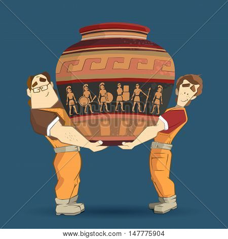 Delivery service and transportation company illustration. Two workers mover man holding and carrying big heavy old egyptian vintage antique vase. 3d color vector creative concept with characters.