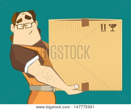 Transportation and delivery company illustration. A postman courier receive big heavy carton cardboard box. 3d color vector creative concept with character.