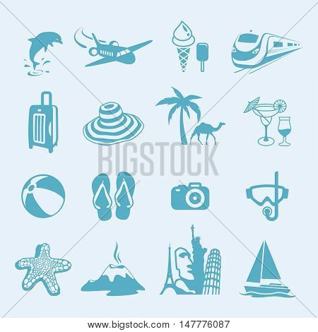 Icons representing summer, travelling and relaxing on the beach