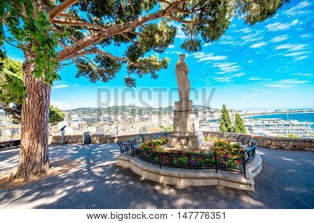 Beautiful park with cityscape view on Cannes city on the french riviera