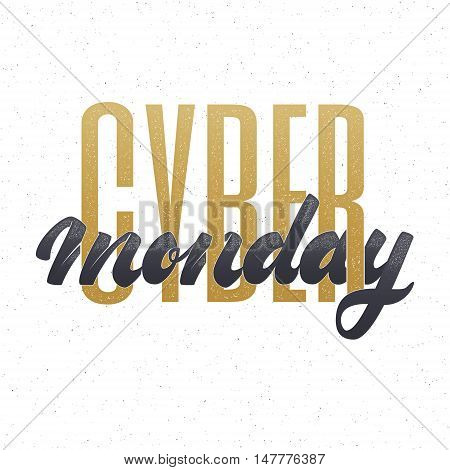 Cyber monday hand-lettering text . Badge drawn by hand, using the skills of calligraphy and lettering, collected in accordance with the rules of typography.
