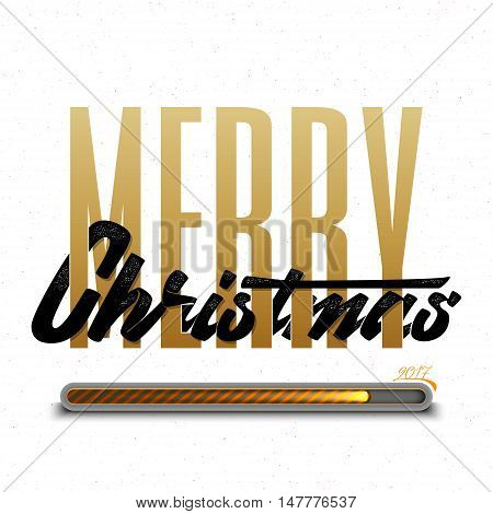 Merry christmas and happy new year 2017 hand-lettering text . Badge drawn by hand, using the skills of calligraphy and lettering, collected in accordance with the rules of typography.