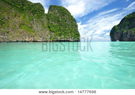 """Beautiful lagoon at  Phi Phi Ley island, the exact place where """"The Beach"""" movie was filmed"""