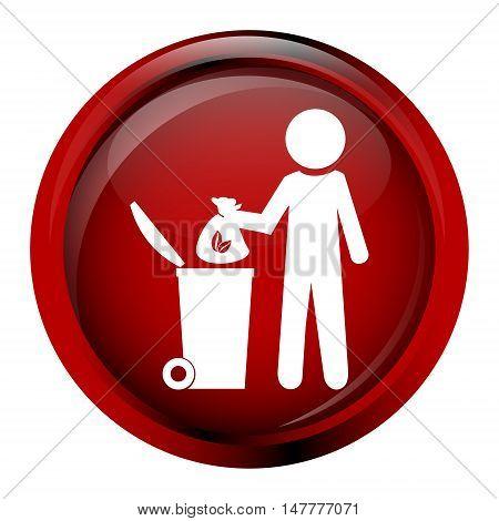 Trash bin with man symbol vector illustration
