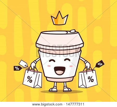 Vector Illustration Of Color Smile Takeaway Coffee Cup With Shopping Packages, Crown On Yellow Backg