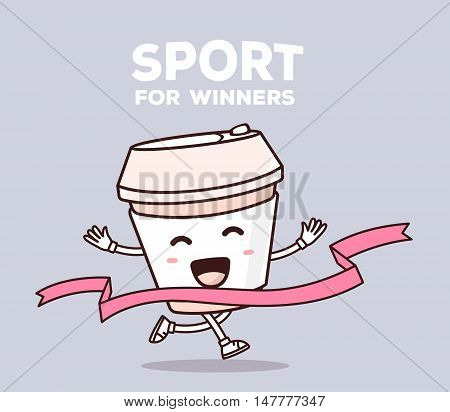 Vector Illustration Of Color Smile Takeaway Coffee Cup Runs Through The Tape To Win On Gray Backgrou
