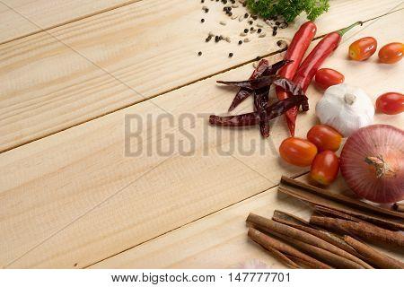 Wood Background  Spaghetti Vegetable