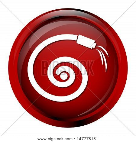 Hose icon garden hose icon, red button vector illustration