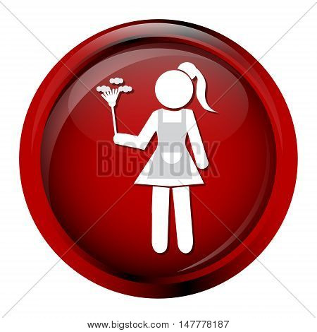 Cleaning icon Maid with dust brush vector illustration