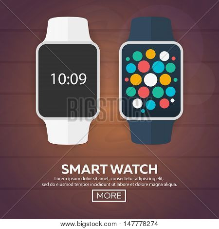 Smart Watch Isolated On White. Stainless Silver  . Vector   With  App.    Reflected   Surface.  Icon
