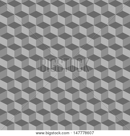 Grey abstract geometric seamless cubes pattern background. Vector