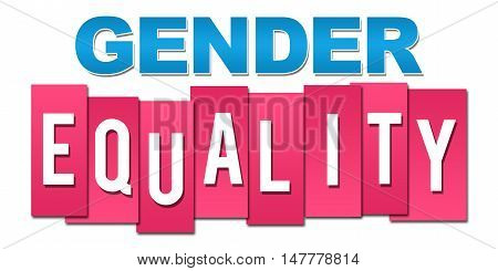 Gender equality text written over pink blue background.