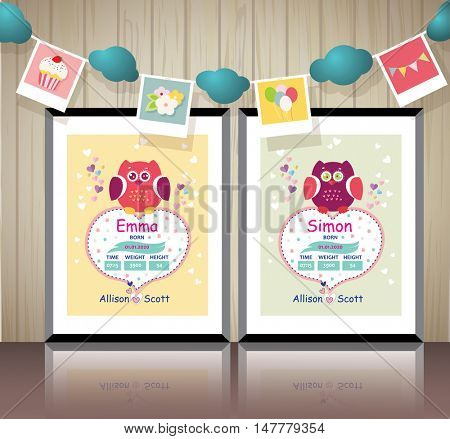 Poster for children's room. New born Baby invitation shower card. Vector fashion, scrapbook decor. Baby Greeting postcard. Happy birthday background. Design template.