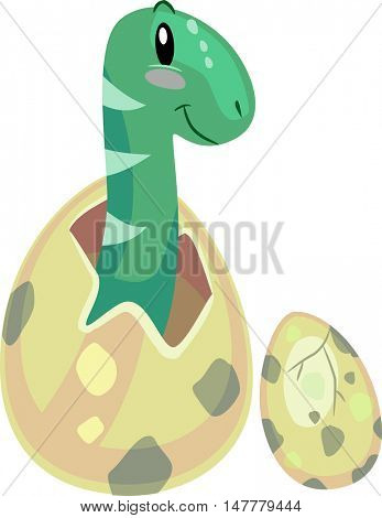 Dinosaur Illustration of a Newly Hatched Baby Brontosaurus Looking on as Another Egg Hatches