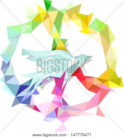 Colorful Illustration of a Peace Icon Featuring Different Geometric Shapes Forming the Shape of a Dove