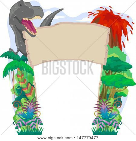 Banner Illustration with a Prehistoric Theme Featuring a T Rex, an Erupting Volcano, and a Dense Rainforest