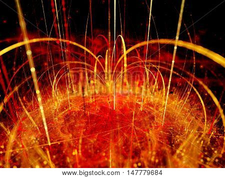 Fiery magnetic force field with magnetization lines computer generated abstract background