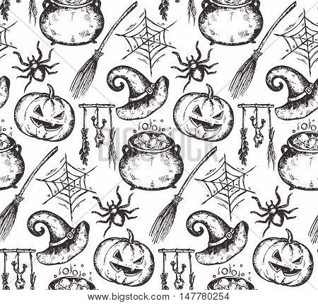 Vector seamless pattern with sketch Halloween characters witch hat, cauldron, broomstick, pumpkin, spider, web. Endless background with hand drawn elements.