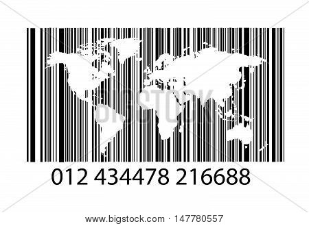 Bar-code on white with world map vector