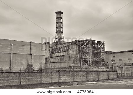 Chernobyl nuclear power plant in Pripyat - black and white image