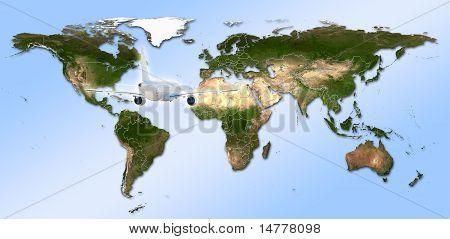 Oi detalhe mapa de mundo Real com países Territorial Fragmentatio