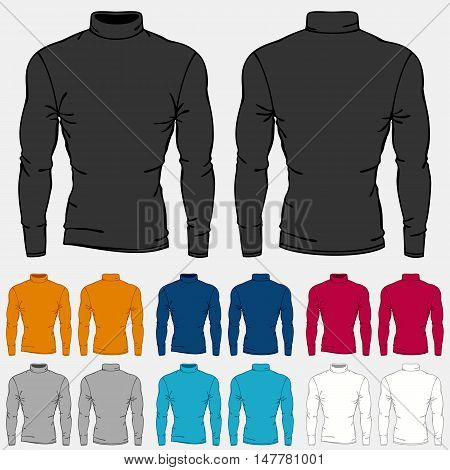 Set of colored turtleneck shirts templates for men.