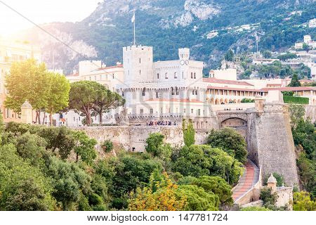 View on Princely Palace of Monaco on the sunset on the french riviera in Monte Carlo