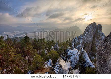 Sulov rocks at a winter in Slovakia