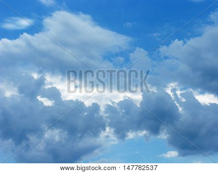 White clouds on blue sky. The clouds in the sky. Sky with clouds. Clouds background. Sky background. Nature.