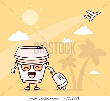 Vector illustration of color smile takeaway coffee cup with suitcase on yellow background with palm trees and airplane. Doodle style. Thin line art flat design of traveling character coffee cup