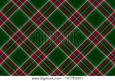 Green red diagonal check fabric texture seamless pattern