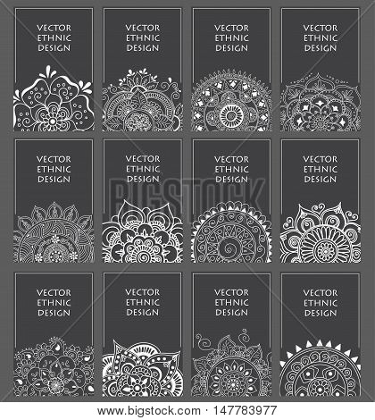Ethnic background set with abstract patterns. Vintage decorative elements. Ornamental henna grey backgrounds, oriental pattern, vector set. Indian and turkish traditional motifs.