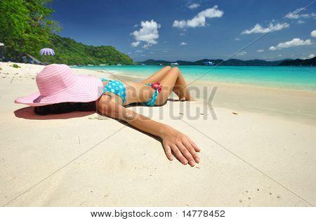 Woman on a beautiful beach
