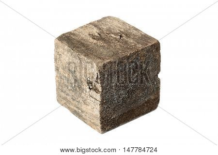 Wooden cube block on white background