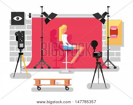 Fashion photography, equipment camera and lamp, vector illustration