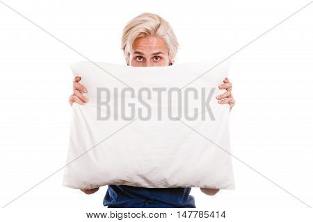 Man Covering His Face With Pillow