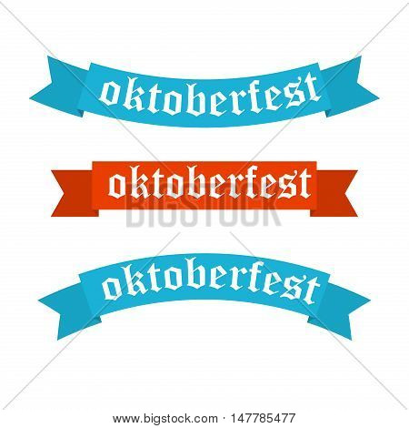 Oktoberfest banners in bavarian colors set. Bavaria festival white and blue Oktoberfest ribbon. Munich design national icon Oktoberfest ribbon culture tradition colorful sign.