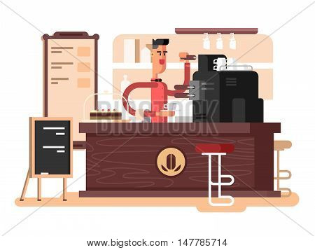 Coffee shop interior. Cafe restaurant, cup espresso, chair and caffeine, vector illustration