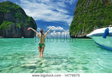 """Woman in beautiful lagoon at  Phi Phi Ley island, the exact place where """"The Beach"""" movie was filmed"""