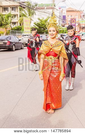 Phuket Thailand - Aug 26 : Unidentified beautiful girl as leader of parade of various schools in Phuket province on opening ceremony of yearly provincial sport.