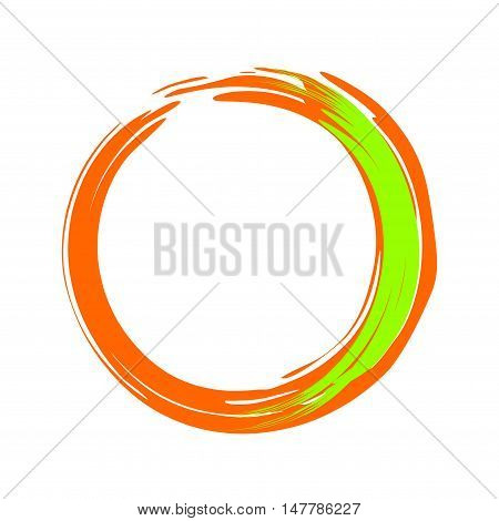 Hand-painted orange and green circle. Hand drawn scribble circle. Paintbrush circle vector frame. Vector illustration