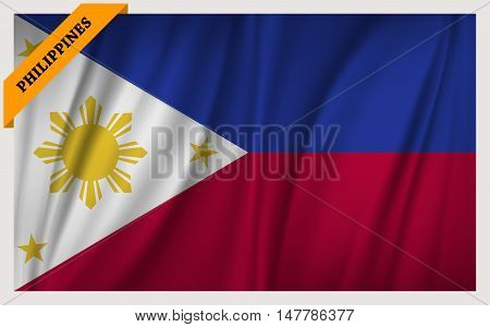 National flag of Republic of the Philippines - waving edition