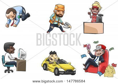 Cartoon people icon of various career and status from poor labor and salary worker into wealthy ceo or entrepreneur create by vector