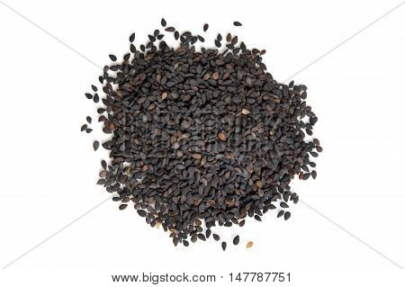 Pile Of Black Sesame Seeds Isolated On White Background Top View