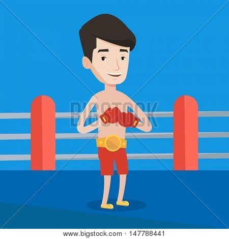 Young confident sportsman in boxing gloves. Professional male boxer standing in the boxing ring. Smiling sportive man wearing red boxing gloves. Vector flat design illustration. Square layout.
