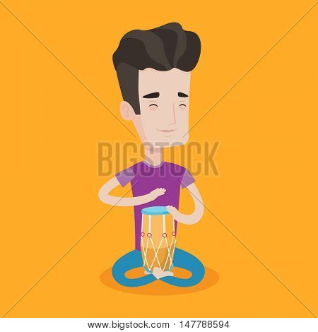 Young man with eyes closed playing ethnic drum. Caucasian mucisian playing ethnic drum. Man playing ethnic music on tom-tom. Vector flat design illustration. Square layout.