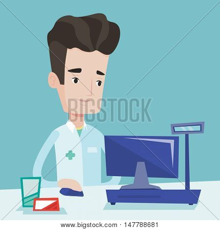 Smiling pharmacist in medical gown standing at the pharmacy counter. Male pharmacist in the drugstore. Young male pharmacist working on a computer. Vector flat design illustration. Square layout.