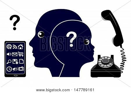 Technological Generation Gap. Old and young grew up with different communication technologies
